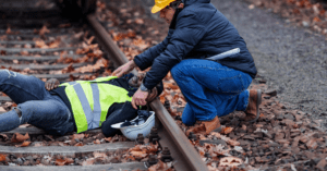 Railroad engineer injured in an accident at work on the railway tracks.