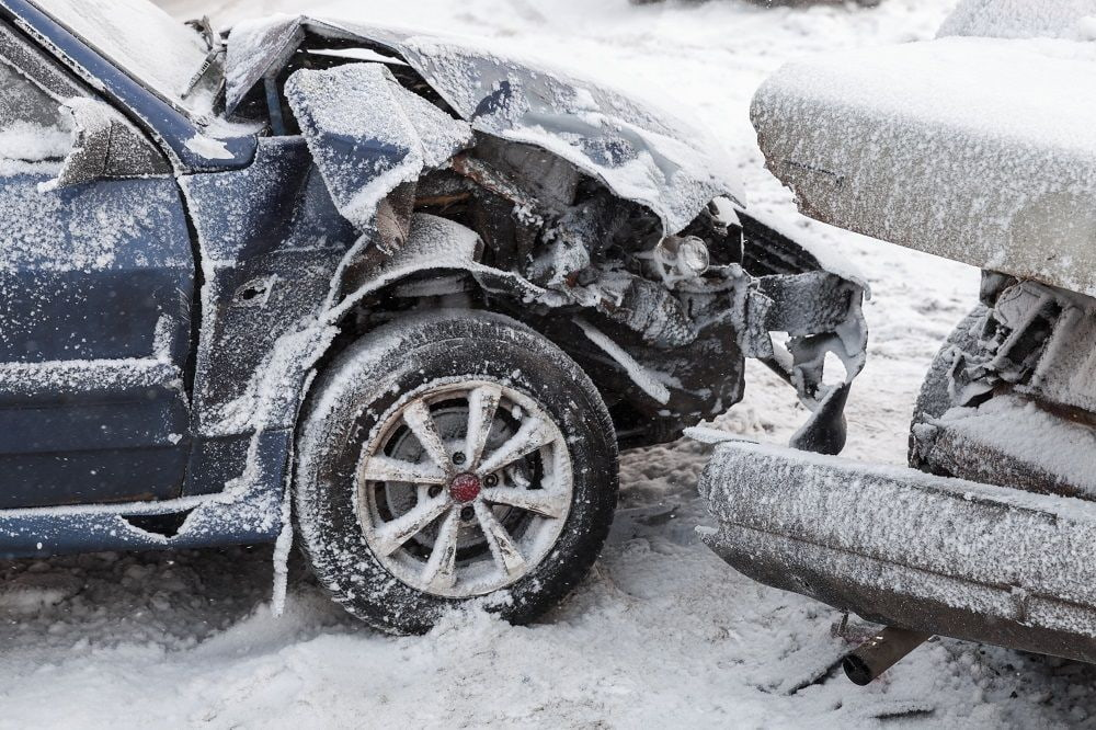 Car accidents cause by snowy weather.