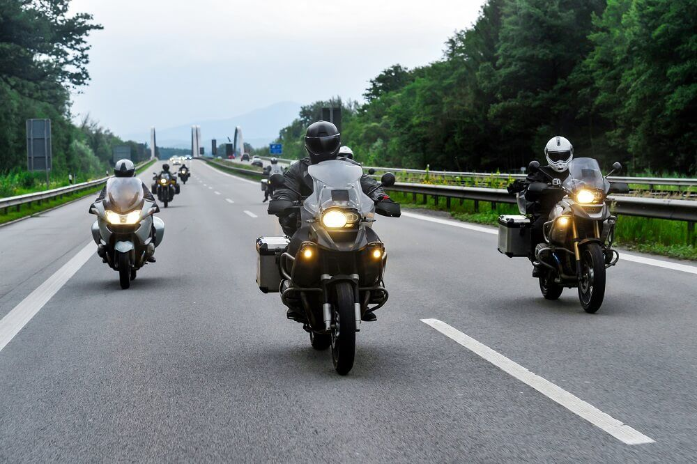 Motorcycle riders on convoy strolling in Historic National Road.