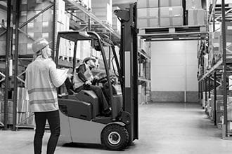 forklift being used to move boxes