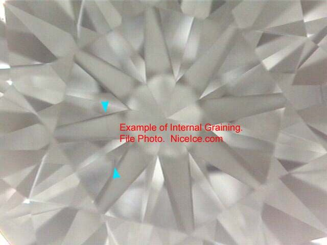 Diamond inclusion internal graining.