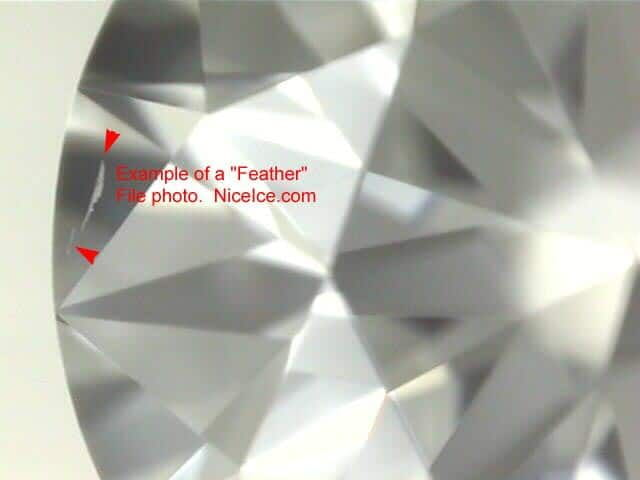 Feather inclusion within diamond.