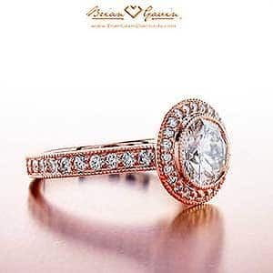 Halo Diamond Engagement Ring in Rose Gold by Brian Gavin, SKU#5441r18