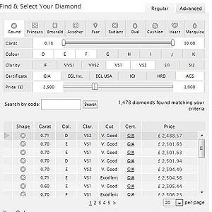 Screenshot 77Diamonds search engine options