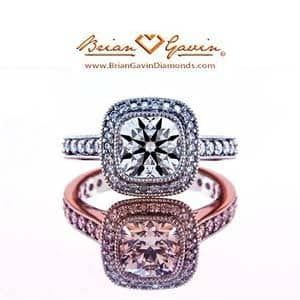 Custom Halo Style Engagement Ring from Brian Gavin with Signature Cushion Cut Diamond