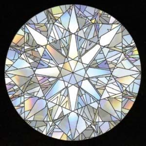 Virtual Facets of a Round Brilliant Cut Diamond, illustrated by Jim Caudill of the AGS Laboratory