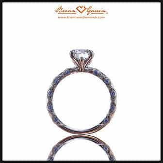 Brian Gavin Lace Solitaire engagement ring with sapphire accents