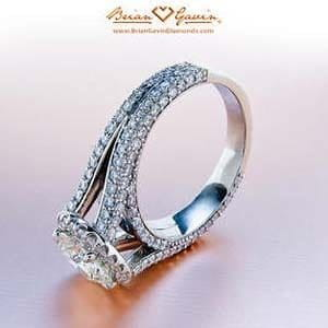 Belle micro pave split shank halo engagement ring from Brian Gavin Diamonds