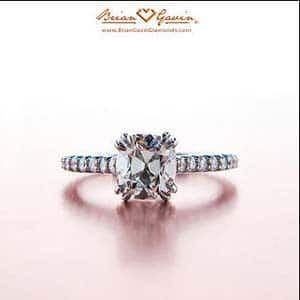 Split four prong pave solitaire engagement ring from Brian Gavin Diamonds