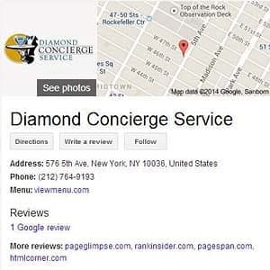 Diamonde Concierge Service Public Service mark as displayed via Google