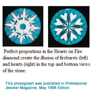 Photograph of Hearts on Fire Diamond, published in May 1998 edition of Professional Jeweler Magazine