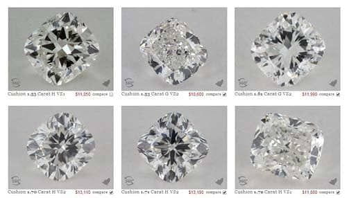 Best ideal proportions photographic examples of cushion cut diamonds from James Allen