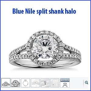 Blue Nile split shank floating halo engagement ring
