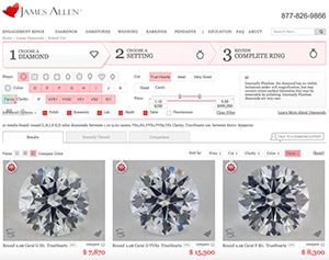 Search parameters to select the best James Allen True Hearts diamond
