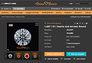 BGD Signature diamond reviews, AGS 104074030045, which online diamond vendor provides the best diamond details page