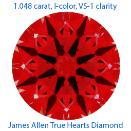 James Allen True Hearts round diamond reviews, AGS 104076983003, Ideal Scope
