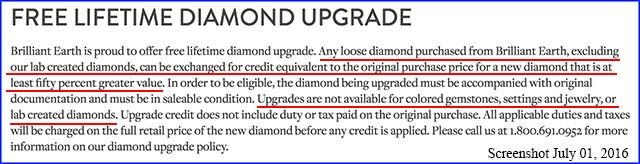 Brilliant Earth upgrade policy excludes lab created diamonds, July 01, 2016