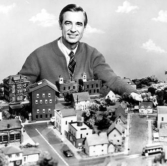 Fred Rogers with the Neighborhood Seen on his show, featured on Wikipedia, courtesy CBS Television