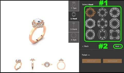 Step 2 of the 810 Collection online ring builder tutorial