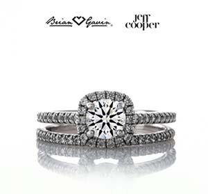 Jeff Cooper Tracie halo engagement ring and wedding band
