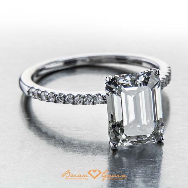 Brighter brilyens Brian Gavin Signature Emerald cut diamond set in Parade Design engagement ring.