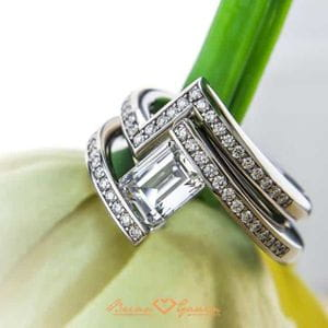 brilyens Brian Gavin Signature Emerald cut diamond set in Stephen Kretchmer channel tension setting.