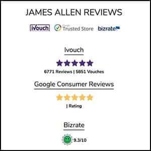 James Allen Reviews, ivouch, google, bizrate