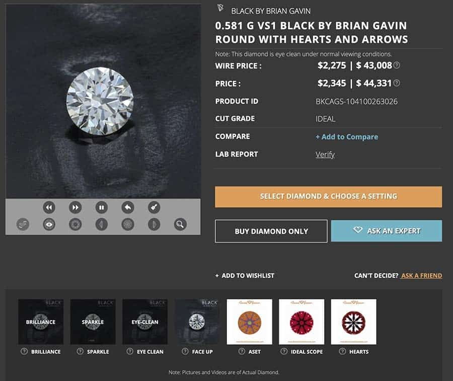Black by Brian Gavin vs Crafted by Infinity, CBI, HPD, Whiteflash, James Allen, Victor Canera, AGS 104100263026