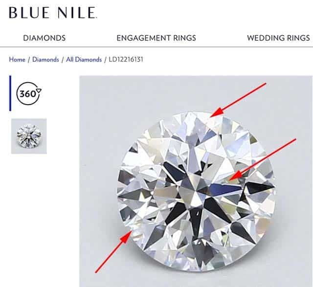 Etch channel inclusions Blue Nile diamond.