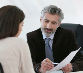 a bankruptcy lawyer discussing with his client
