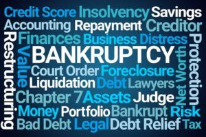 Bankruptcy word cloud blue background
