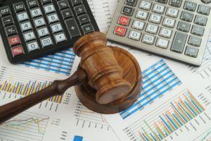 Gavel and business documents to represent chapter 11 bankruptcy