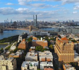Aerial view of downtown Brooklyn, NY.