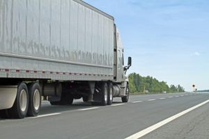 Semi Truck Travelling On Interstate Highway