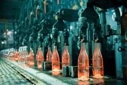 bottles going through steps of the assembly line