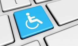 a keyboard with a wheelchair icon to show ADA accessibility