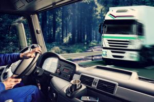 A negligent truck driver on the road