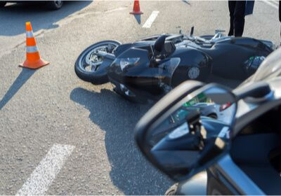 a motorcycle on the road after an accident