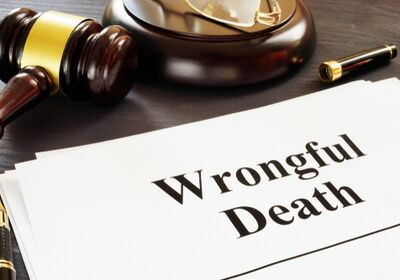 a gavel and wrongful death text