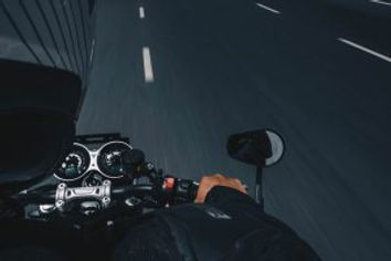 Driver POV of a Motorcycle Driving on the Highway