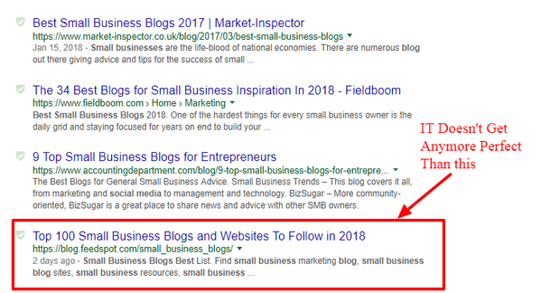 image of google search of best small business blog