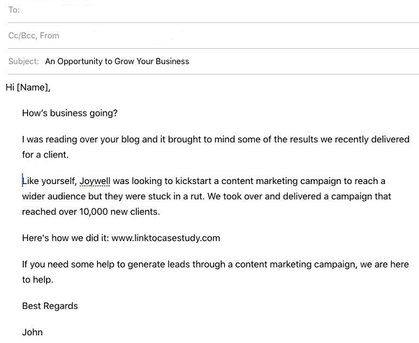 outreach email using a case study