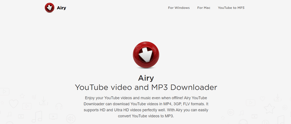 Airy YouTube downloader homepage