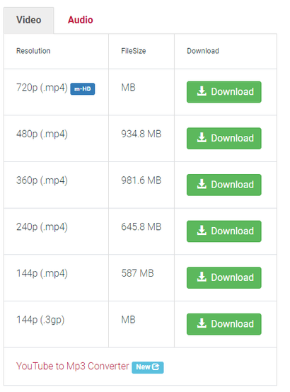 Using the Download tool to select the proper format