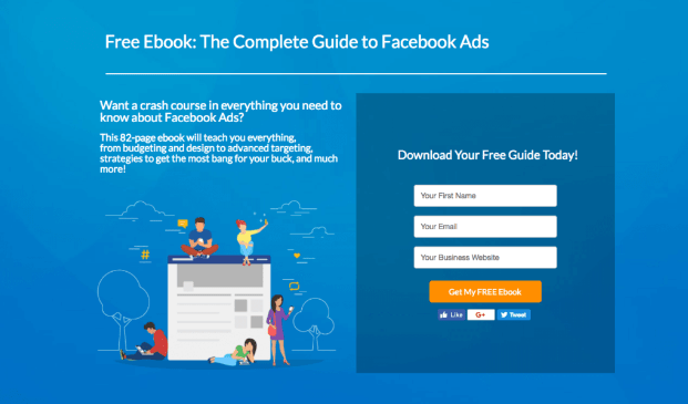 Facebook ebook example of lead generation strategy