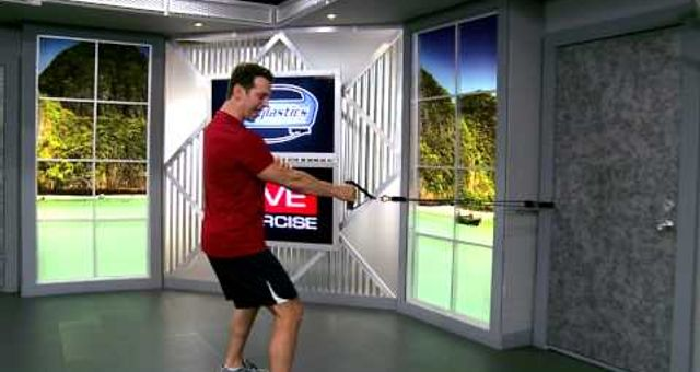 Standing One Arm Row with resistance bands