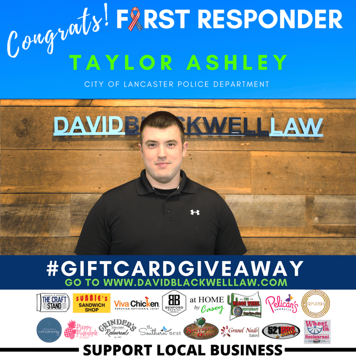 Taylor Ashley - Winner Week 3 - First Responder Giveaway - David Blackwell Law