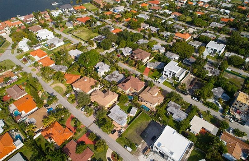 aerial view residential area