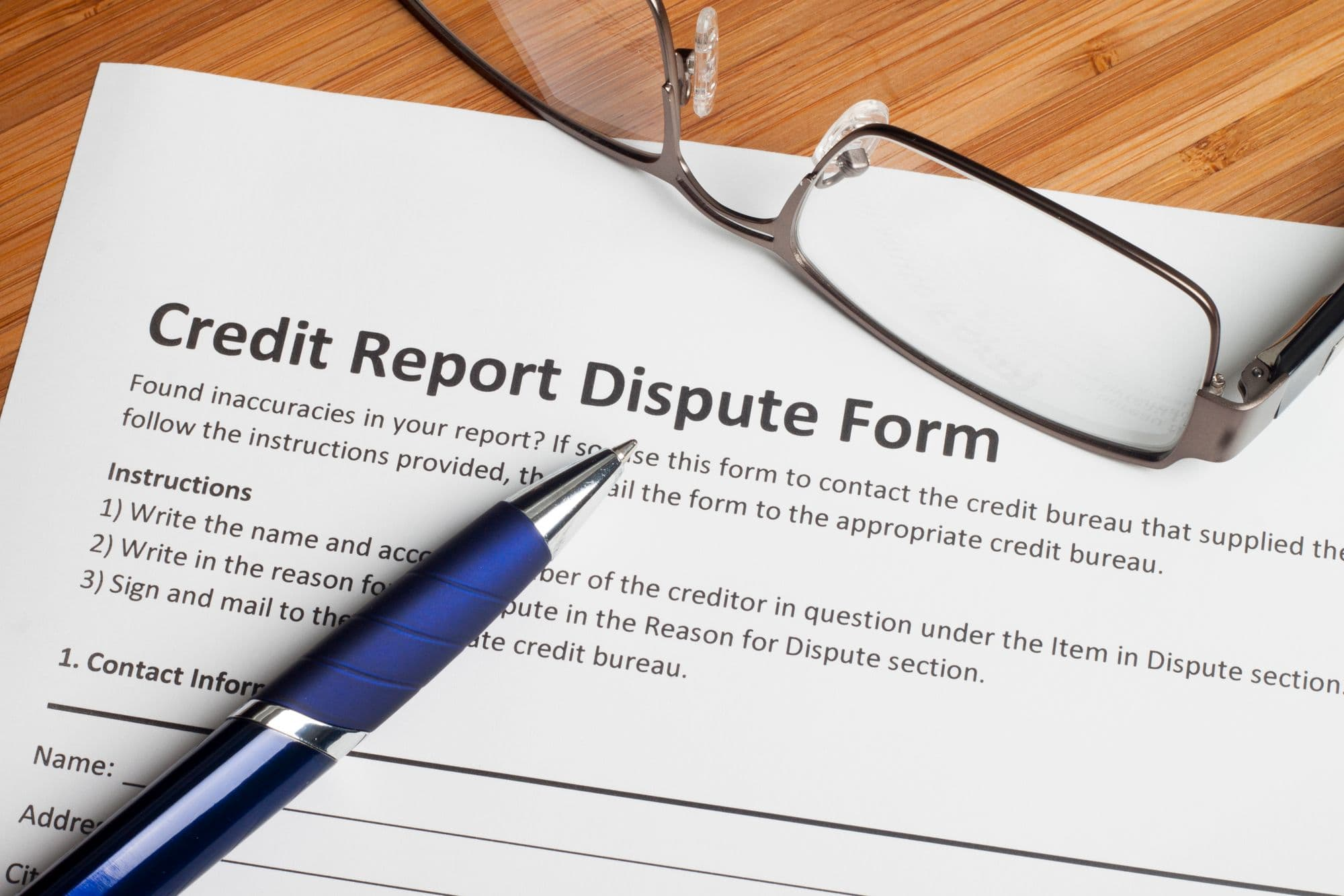 credit report dispute form