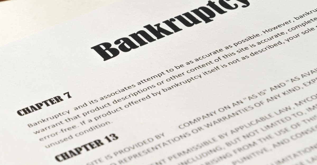 close-up of bankruptcy document